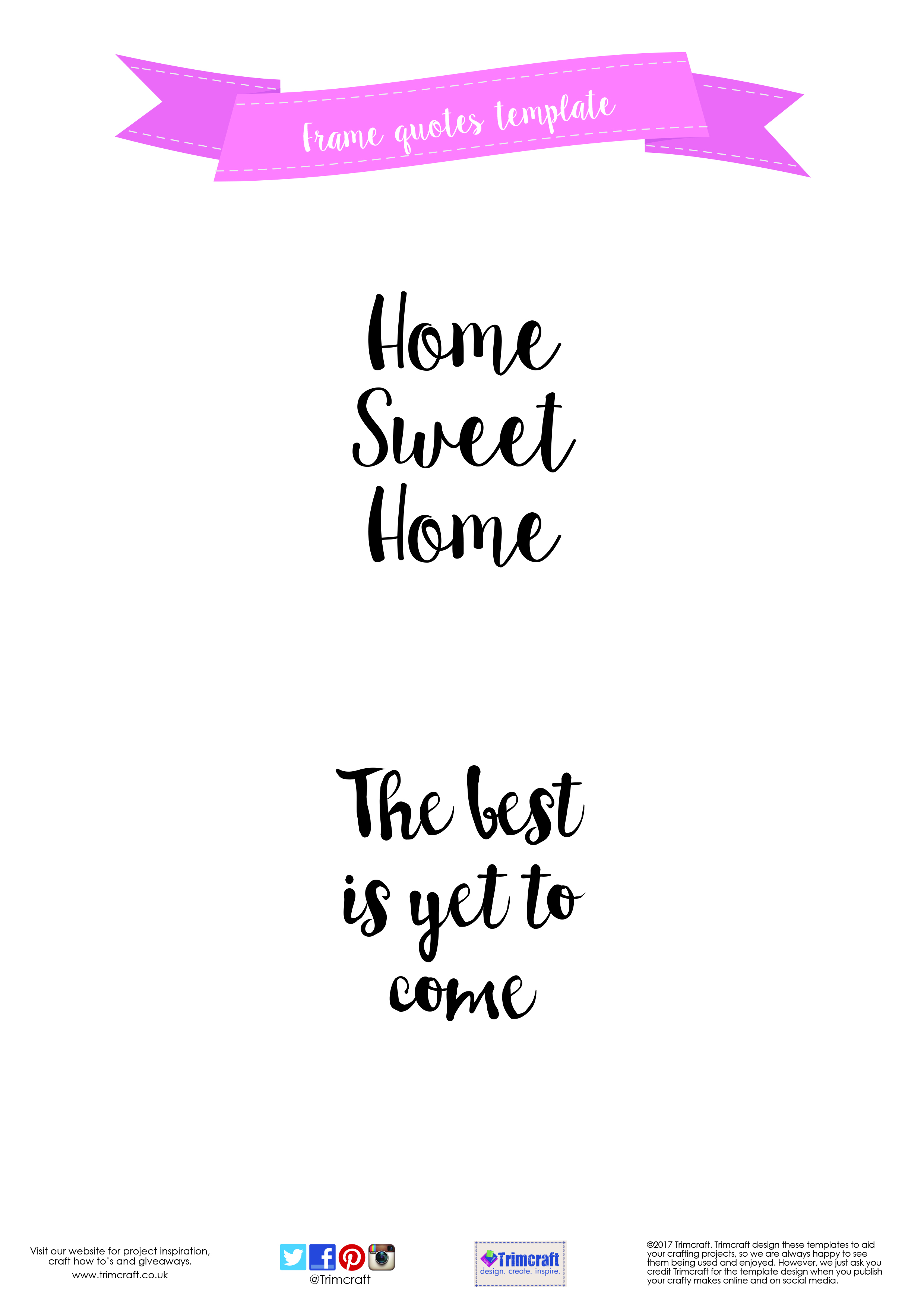 photo relating to Printable Quotes to Frame identified as Free of charge Printable Craft Templates The Craft Website