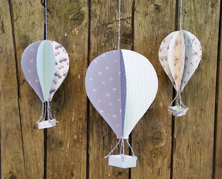 3D Hot Air Balloons With Printable Template | The Craft Blog