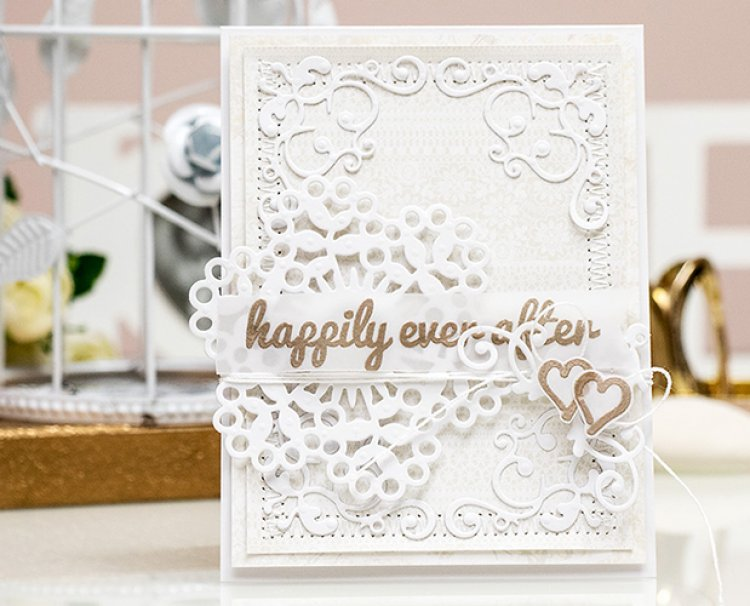 Dovecraft Wedding /'Happily Ever After/' Clear Stamp