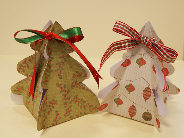 Christmas tree gift box template craft inspiration